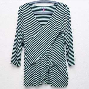 Vince Camuto Mint & Black Striped Long Sleeve
